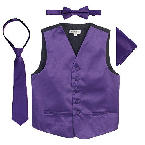Gioberti Boys 4pc Satin Formal Vest Set, Purple, 14 (Best Of Class Ties)