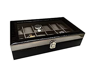 ChestKraft Men's/Women's Pearl Luxury' 12 Watch Box/Organizer with Grey Suede, Transparent, Steel Finish Closure (Gloss Black)