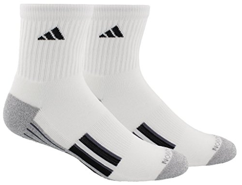 adidas Mens Climalite X II Mid-Crew Socks (2-Pack), White/Heather Light Onix/Black/Onix, Size 6-12