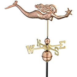 Good Directions Mermaid with Starfish Weathervane, Pure Copper