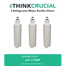 3 LG LT700P (RFC1200A) Replacement Refrigerator Water Purifier Filter Fits LG ADQ36006101; ADQ36006101-S, ADQ36006101S, ADQ36006102, ADQ36006102-S, ADQ36006102S, LT700P, 9690 & 46-9690, Kenmore 469090, Water Sentinel WSL-3