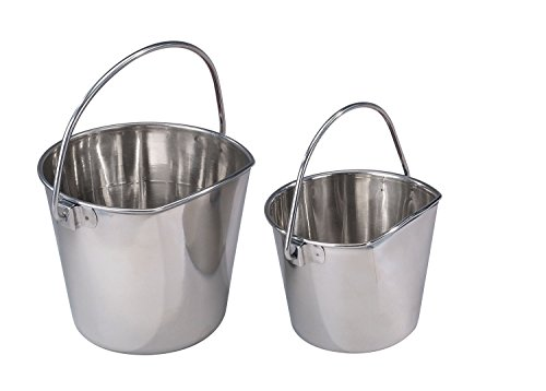 (Pro Select Stainless Steel Pet Pail, 1-Quart Size – Heavy Duty Flat Sided Pail Great for Providing Water in Pet Kennels)