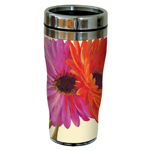 Tree-Free Greetings sg23706 Gerber Daisy Pair by Nel Whatmore Travel Tumbler, 16-Ounce