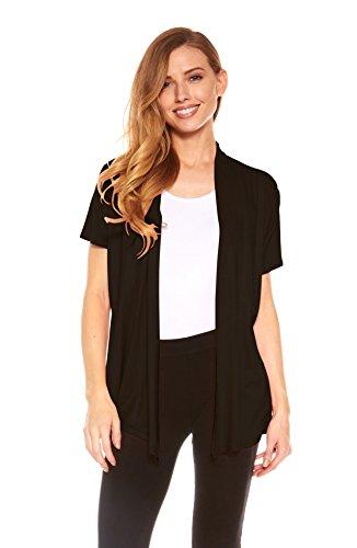 Red Hanger Cardigans For Women - Short Sleeve Womens Open Cardigan Sweaters (Black-M) (Knit Sleeve Short Cardigan)