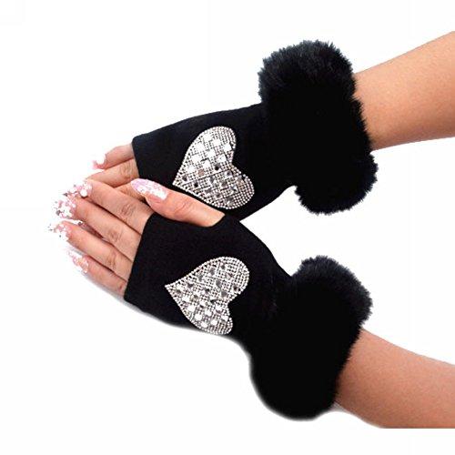 DJHbuy レディース ふわふわ 秋冬 防寒 指なし ニット手袋