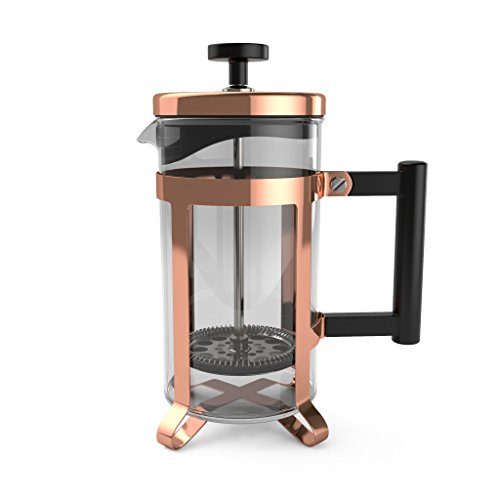 bonVIVO GAZETARO III French Press Coffee Maker, Cold Brew Coffee Makers Machine Made of Stainless Steel And Heat Resistant Borosilicate Glass, Coffee Press in Copper Finish, With Filter, 12 ounces