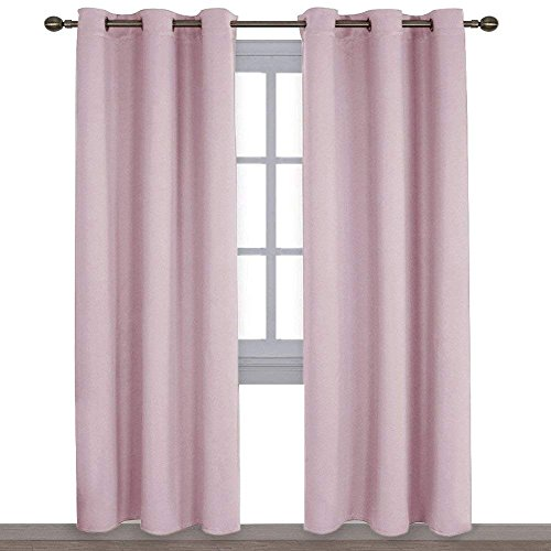 NICETOWN Nursery Essential Thermal Insulated Solid Grommet Top Blackout Curtains/Drapes (1 Pair,42 x 84 Inch in Baby (Soft Pink Shade)