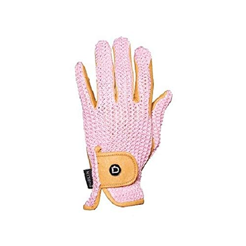 - Dublin Unisex Crochet Leather Riding Gloves (XS) (Natural/Pink)