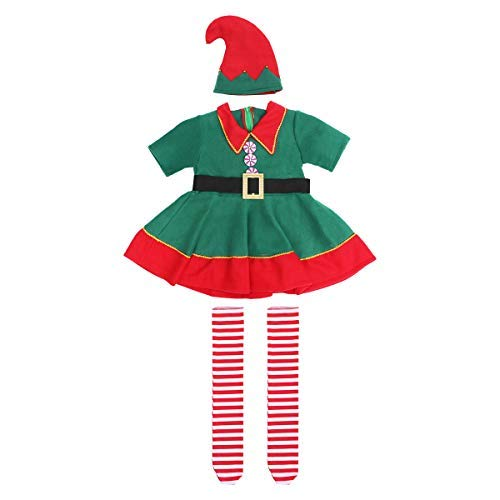 Christmas Costume Set Children's Green Elf Festival Costume Cosplay Parent-child Costume Suit for Girls - Size 100CM (Green)]()