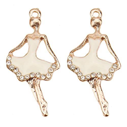 (JETEHO 20 Pcs White Color Sparkly Rhinestone Ballet Dancer Charms Enamel Dancing Girl Charm Pendant for Jewelry Making )