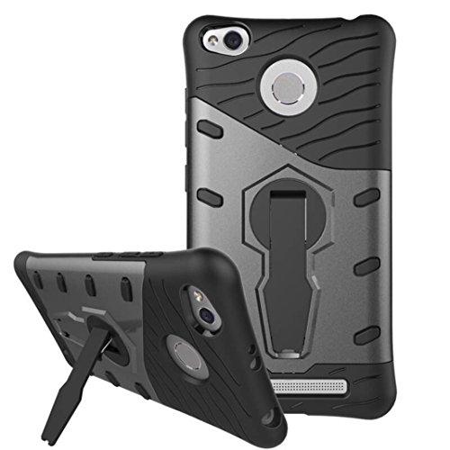RedMi 3S Funda - Litastore Giratorio Combinación Cáscara Dura Caso Cubierta Armor Protección para RedMi 3S - Negro Negro