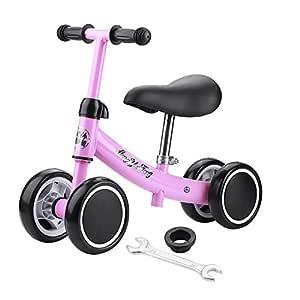 Zerone Entrenamiento del Equilibrio Mini Bicicleta de Bebé sin Pedales , para Niño 1-2 Años Andador de Cuatro Ruedas (Rosa)