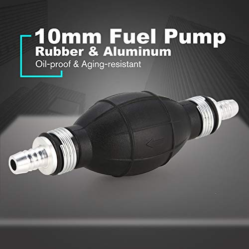 Negro 10 mm Diesel L/ínea de la bomba de combustible Mano Agua L/íquida Cebador Bomba Gas Gasolina Auto Coche Barco Autom/óvil Transferencia Aluminio Goma Aluminio