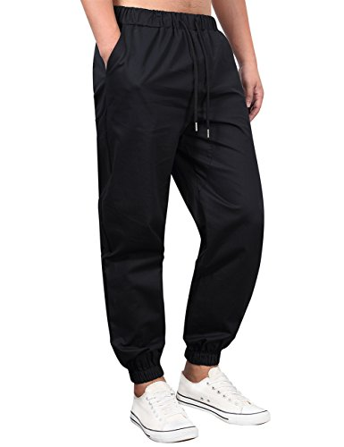 Kuulee Men's Chino Jogger Pants in Basic Solid Colors and Stretch Twill Fabric Black (Twill Chino Pants)