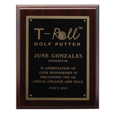 Customizable 8 X 10 Inch Walnut Finished Plaque with Black Plate Gold Trim, includes Personalization