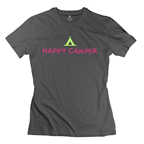 Personalized Women's Summer T-shirt Happy Camper Funny Size M DeepHeather