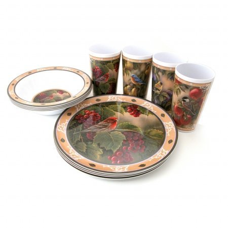 Motorhead Products Wild Wings Gift Boxed 12-Piece Melamine Tableware Sets, Songbird Series