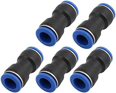 uxcell クイックコネクタ プッシュインコネクタ 5個入り ブラック ブルー プラスチック 金属 14mm 空気圧継手