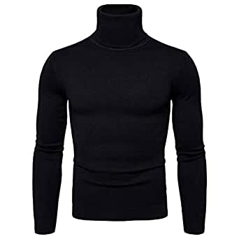 CCZZ Men's Turtleneck Roll Neck Knitted Jumper Pullover Sweater Knit Top Black
