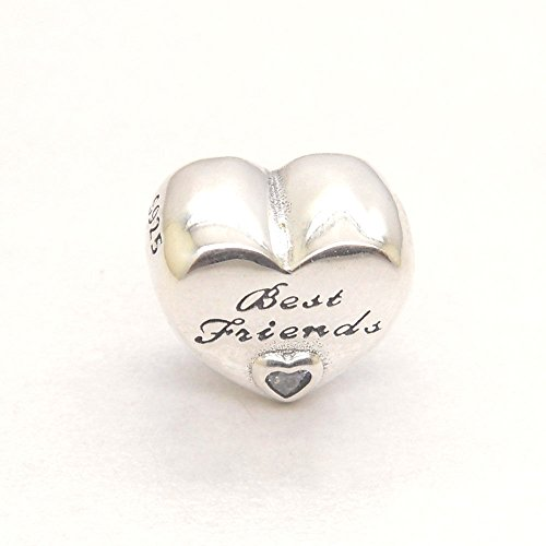 (Christmas gift Fits Pandora Bracelet Authentic Genuine S925 Silver Best Friends Friendship Heart Charm Bead)