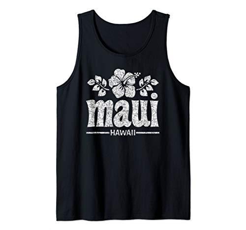 Maui Hawaiian Flowers Distressed Print Tank Top