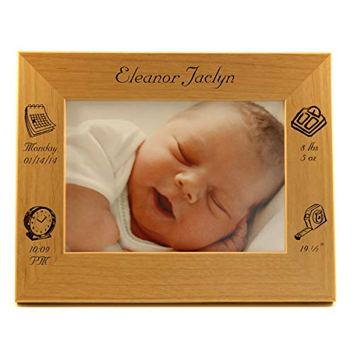 Nordic Lasers Personalized Baby Gift - Baby Photo Frame - Baby Frame Displays Picture with Engraved Picture Frame of Baby's Day of Week Born, Date of Birth, Weight, and Length - Alder Wood Horizontal