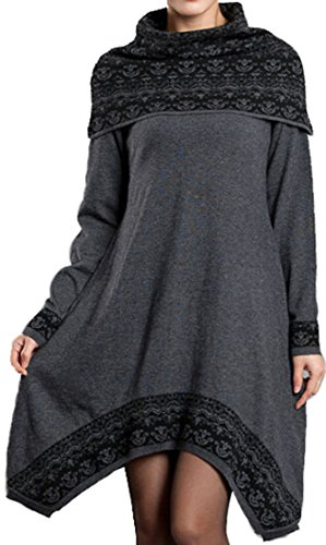 Galsang Womens Winter Irregular Wool Sweater Dress with Shawl Collar #S003 (Regular 4, Dark grey)