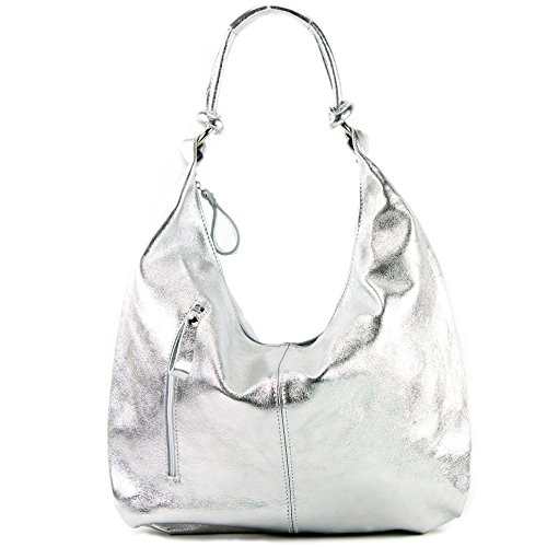 leather bag women's Italian handbag metallic Silber bag hobo bag bag 337 qXOS5YS