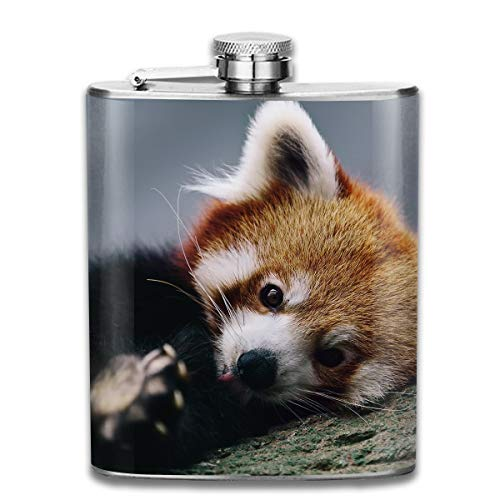 Laki-co Cute Red Panda Hip Flask for Liquor Stainless Steel Bottle Alcohol 7oz ()