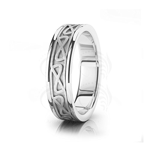 14k White Gold Hourglass Chained Celtic Wedding Ring by Appealing Wedding Bands