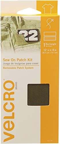 VELCRO Brand For Fabrics | Sew On Patch Kit | No Ironing or Gluing | Removable Patch System for Securing Military and Scouting Patches to Uniforms | Pre-Cut Strips, 12 x 4 inch, Sage