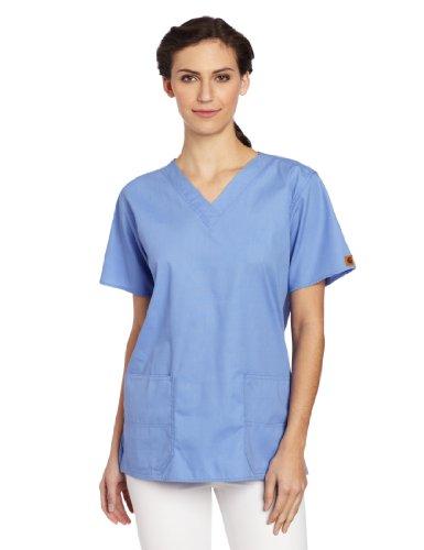 (Carhartt Women's Scrubs V-Neck Two Pocket Top, Ceil Blue, Large)