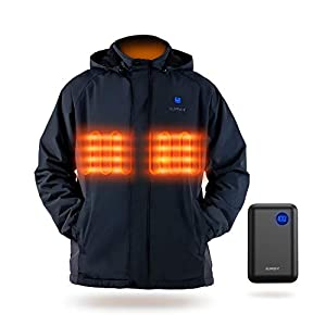 IUREK Veste Chauffante à Capuche ZD961 Electrique Homme USB Vêtements Softshell Imperméable Trekking Randonnée Escalade…
