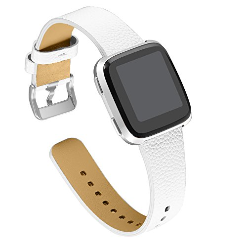bayite Leather Bands Compatible Fitbit Versa, Slim Wristband Replacement Accessories Fitness Classic Straps Women Men, White ()