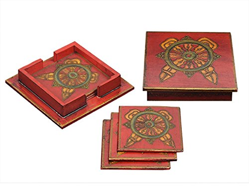 Enameled Glass Vase (Bar Drink Coaster Tea Coffee Mug Tabletop Barware Set of 6 Wooden Hand Carved Traditional Red Print Designed Dining Accessories Home Decor)