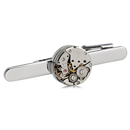 kanxiner Fashion Steampunk Men's Tie Clip Vintage Watch Movement Tie Clasp Tack Silver from kanxiner