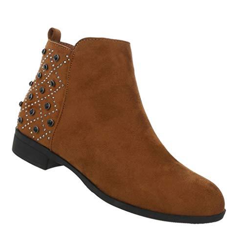 Blockabsatz Kurze 36 Ankle Camel Booties Damen Stiefel Schuhe Stiefeletten Boots Leder Flache 41 Optik wpxRq0xI