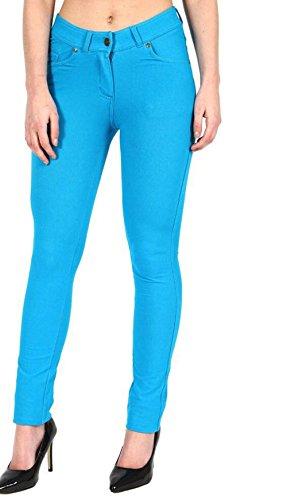 Jeggings Turquoise Donna Tinta Pantaloni Janisramone unita Fwx5Bxq