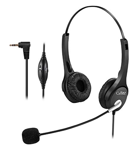 Callez C402D1 Wired Office Telephone Headset with Noise Canceling Mic 2.5MM for Cisco Linksys SPA Grandstream Polycom Panasonic Zultys Siemens Gigaset Uniden AT&T Office IP and Cordless Dect - Nec Canceling Noise Handset
