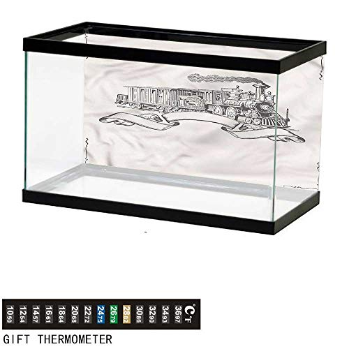 - Suchashome Fish Tank Backdrop Vintage,Old School Locomotive,Aquarium Background,48
