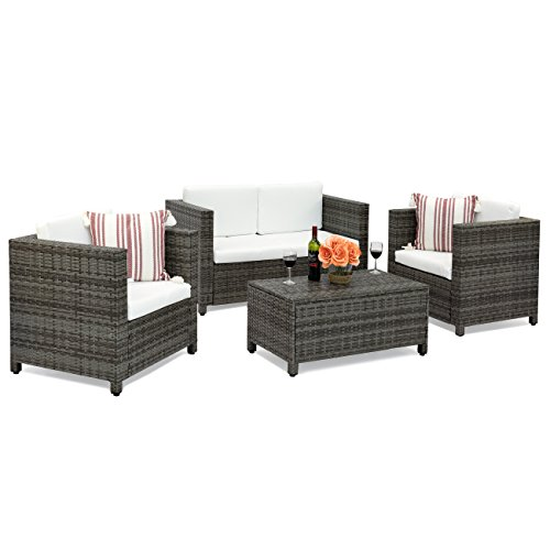 Best Choice Products 4-Piece Wicker Sofa Set w/Cushions (Gray) (Wicker 4 Piece)