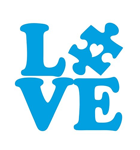 Dixies Decals Autism Love Puzzle Piece with Heart Car Truck Window Glass Laptop Notebook (Light Blue, 4