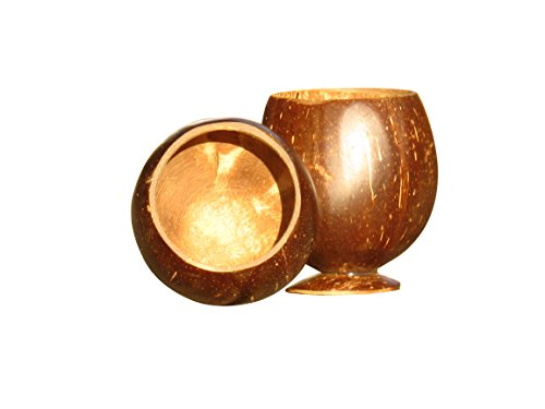 100% Real, Natural, Coconut Shell Cups on Wooden Bases - Pack of 2 (Polished, Other) (Hawaiian Coconut Shell)