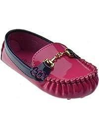Emmy 04B Little Girls Moccasin Patent Slip On Flats Fuchsia