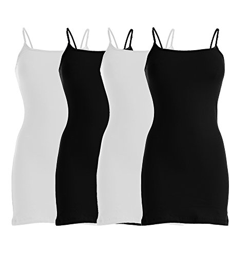 VIV Collection Four-Pack of Basic Spaghetti Strap Cami Cotton Tank Top (Medium, Black/Black/White/White)