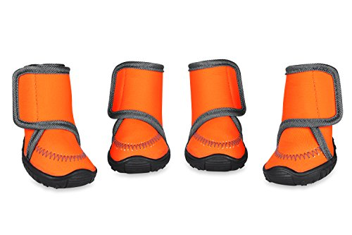 Prumya Dog Boots Waterproof Paw Protectors Dog Shoes with Adjustable Straps and Rugged Anti-Slip Sole, 4pcs (M)