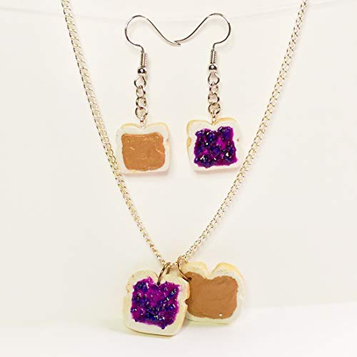 Peanut Butter and Grape Jelly Earrings and Necklace Set Faux Food Jewelry Halloween Thanksgiving Fall Christmas -