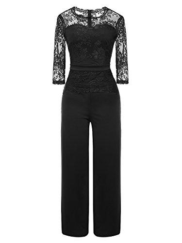 LSAME Women's Elegant Lace Spliced Playsuit Cocktail High Waisted Wide Leg Long Romper Jumpsuit (Black, Medium)