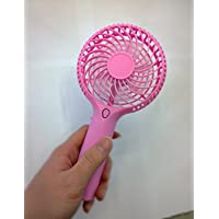TEAM WORK Portable Mini USB/ Battery Fan Air Cooling Handheld Fan ,Two Speed with 18650 Rechargable Battery USB Light Fan ,Indoor and Outdoor Activities Mini Fan ( Pink)