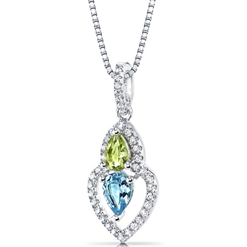 Swiss Blue Topaz and Peridot Pendant Necklace Sterling Silver Pear Shape 1.25 Carats Total